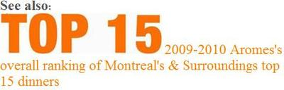 2009-2010 AROMES   TOP 15 BEST DINNERS IN MONTREAL